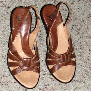 Sofft brown leather sling-back sandals